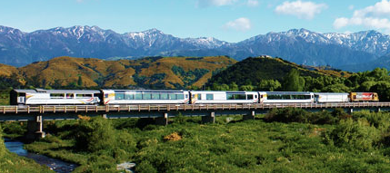 Coastal Pacific train passing the Kaikoura Ranges
