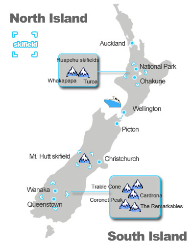 map of major ski and snowboarding filed in New Zealand