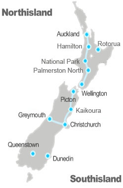 New Zealand national passenger rail map
